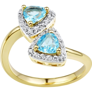 2 in Love Gold Plated Sterling Silver Swiss Blue Topaz And Lab White Sapphire Ring