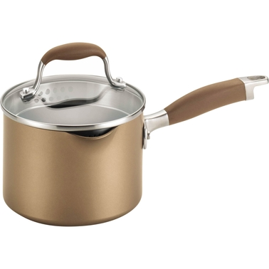 Anolon Advanced Bronze Hard-Anodized Nonstick 2-Qt. Covered Straining Saucepan