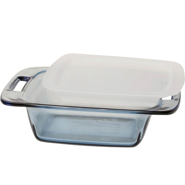 Pyrex Easy Grab Atlantic Blue 8 in. Square Glass Baking Dish with Lid