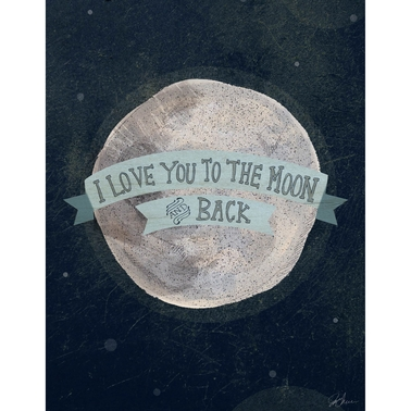 GreenBox Art Blue I Love You To The Moon And Back Canvas Wall Art 14 x 18
