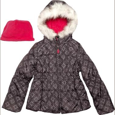 London Fog Girls Printed Bubble Jacket And Beanie | Coats ...