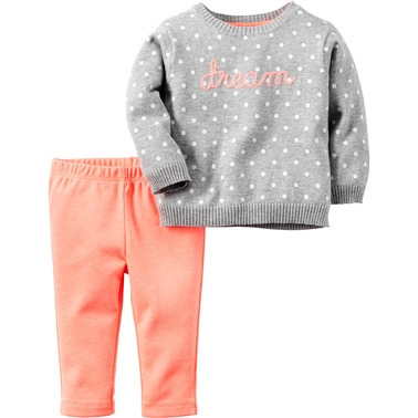 b6cd2a3aa Carter s Infant Girls Sweater Dream With Pink Pants 2 Pc. Set