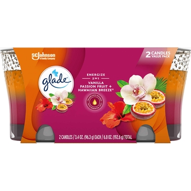 Glade Hawaiian Breeze and Vanilla Passion Fruit 2-in-1 Candle 2 pk.