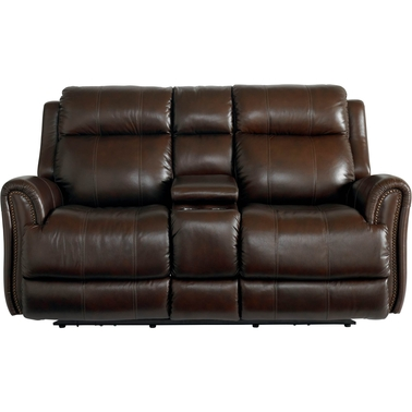 Bassett Club Level Marquee Power Motion Loveseat with Console
