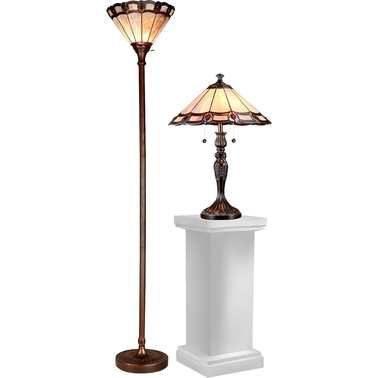 Dale Tiffany Peacock 2 pc. Torchiere Floor Lamp and Table Lamp Set