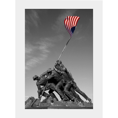 Capital Art Iwo Jima Black and White (Portrait) Matte