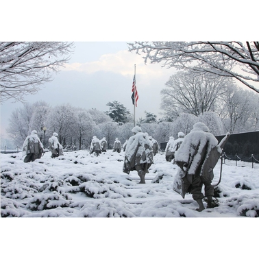 Capital Art Korean War Memorial in the Harsh Frozen Conditions Canvas