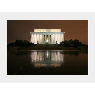 Capital Art Lincoln Memorial with a Reflection on a Wet Night Matte