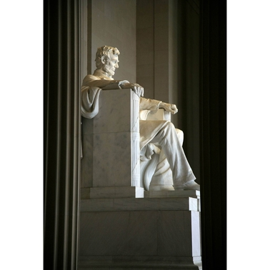 Capital Art Lincoln Memorial Inside Viewed from the Side Portrait Image Canvas