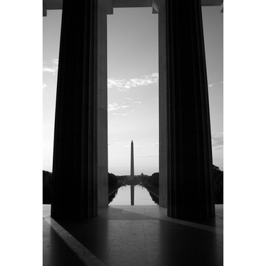 Capital Art Washington Monument Seen from the Lincoln Memorial Portrait View Canvas