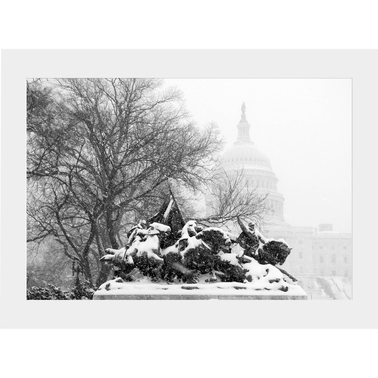 Capital Art US Capitol West Side, From Grant Memorial During a Blizzard B&W Matte
