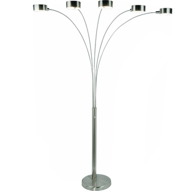 Artiva USA Micah 88 In. Modern 5 Arch Brushed Steel Floor Lamp with Dimmer