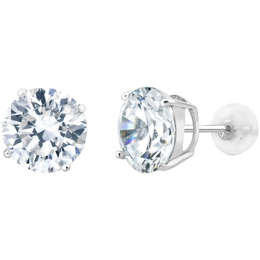 14K White Gold 0.9 CTW Round Simulated Diamond Stud Earrings
