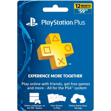 Sony PlayStation Plus PS4 12 Month Membership Gift Card
