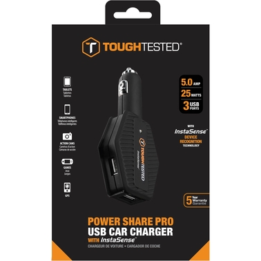 ToughTested Power Share 4.8 Amp 3 USB InstaSense Car Charger