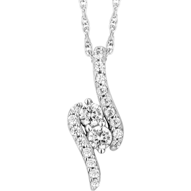 2 In Love 10K White Gold 1/4 CTW Two Stone Diamond Pendant