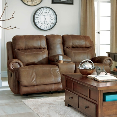 Ashley Austere Power Reclining Console Loveseat