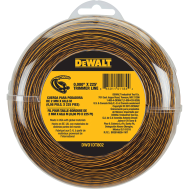 DeWalt DW String Trimmer Line, .080 in. x 225 ft.