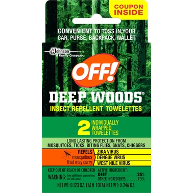 OFF! Deep Woods Insect Repellent Towelettes 2 Pk.