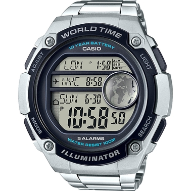 Casio Men's Large World Time Illuminator Silvertone Watch AE3000WD-1AV