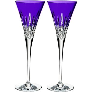Waterford Lismore Pops Purple Crystal Toasting Flute 2 pk.