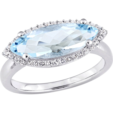 Sofia B. Sterling Silver Marquise Shape Blue Topaz and White Topaz Halo