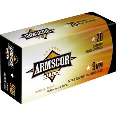 Armscor 9mm 147 Gr. FMJ Subsonic, 50 Rounds