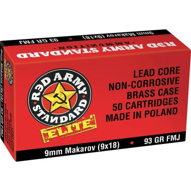 Century Arms Red Army Standard 9mm Makarov 93 Gr. FMJ, 50 Rounds