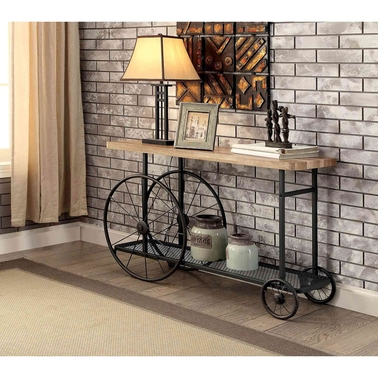Furniture of america sofa table with wheels living room for Sofa table on wheels