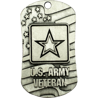 Shields of Strength Veteran Antique Finish Dog Tag Necklace, Joshua 1:9