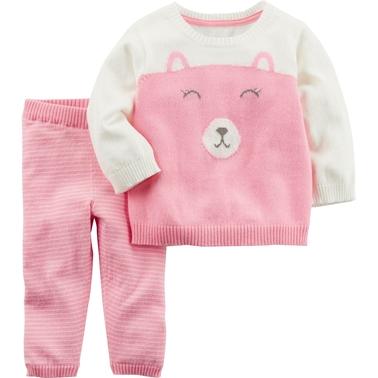 f4c4492ae Carter s Infant Girls Bear Sweater 2 Pc. Set
