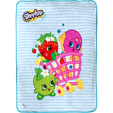 Jay Franco and Sons Shopkins Shopping Cart Fun Fleece Throw
