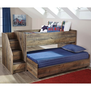 Signature Design by Ashley Trinell Loft with Caster Bed