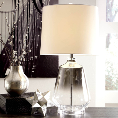 Signature Design by Ashley Jaslyn Glass Table Lamp, Silver Finish, Contemporary