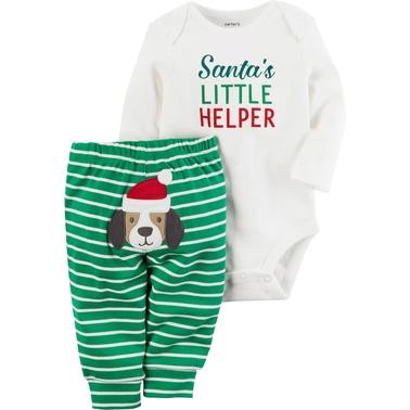 bba795365057 Carter s Infant Boys 2 Pc. Santa Helper Bodysuit Pant Set