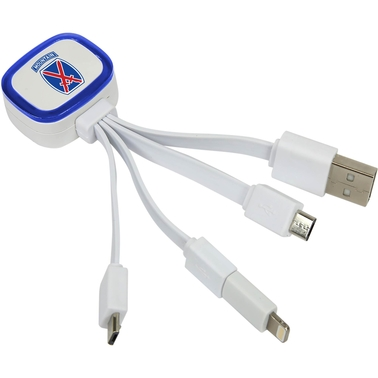 QuikVolt 10th Mountain Division Tri Charge USB Cable with Lightning Adapter