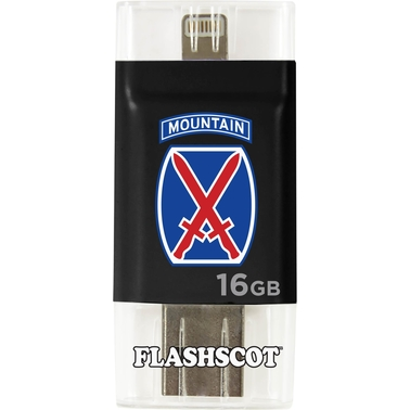 Flashscot 10th Mountain Division iFlashDrive HD 16GB 2 in 1 USB Drive