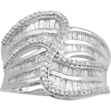 Sterling Silver 1 CTW White Diamond Ring