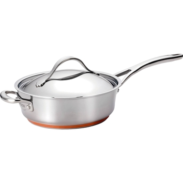 Anolon Nouvelle Copper Stainless Steel 3 Qt. Covered Saute with Helper Handle