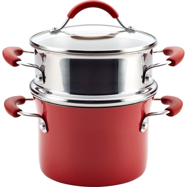 Rachael Ray Cucina Hard Porcelain Enamel Nonstick Multi-Pot with Steamer Set, 3-Qt.