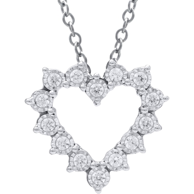 10K White Gold 1/4 CTW Diamond Heart Pendant