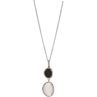 Phillip Gavriel Sterling Silver Moonstone, Black Onyx and Diamond Accent Pendant