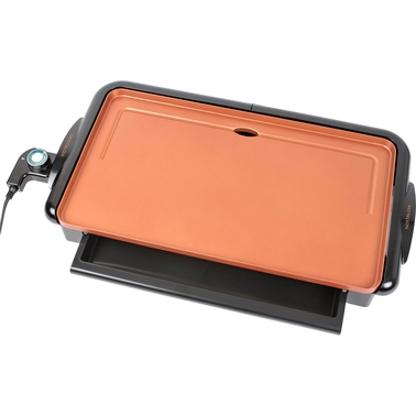 Nostalgia Electrics Non-stick Copper Griddle with Warming Drawer