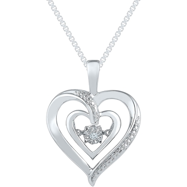 Sterling Silver Heart Pendant Diamond Accent