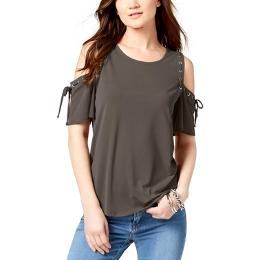 INC International Concepts Petite Lace-Up Cold-Shoulder Top