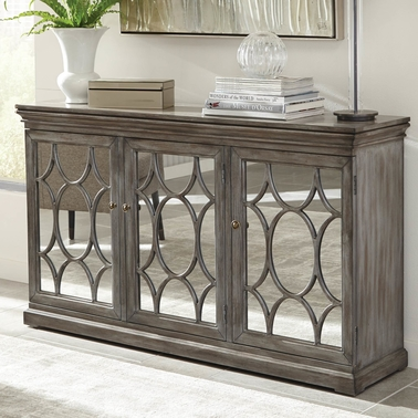 Scott Living Accent Cabinet with Three Mirrored Doors Accented with Lattice