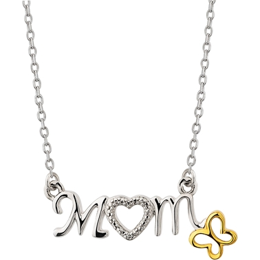 Sterling Silver and 10K Yellow Gold Diamond Accent Mom Butterfly Charm Necklace
