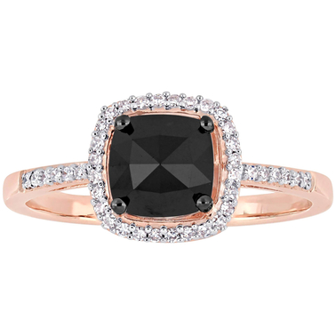 Diamore 1 CTW Black and White Diamond Halo Engagement Ring in 14k Rose Gold