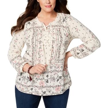 d028292167519 Style   Co. Plus Size Floral Print Peasant Top