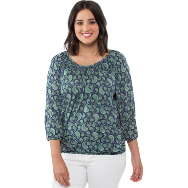Michael Kors Plus Size Pretty Paisley Peasant Top